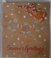 Gingerbread Man Christmas Large Gift Bag